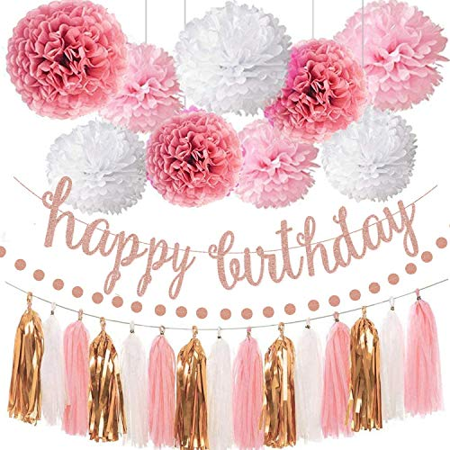 GuassLee Pink Rose Gold Birthday Party Decorations Set - Rose Gold Glittery Happy Birthday Banner, Tissue Paper Pom, Circle Dots Garland and Tassel Garland for Birthday Party Decorations