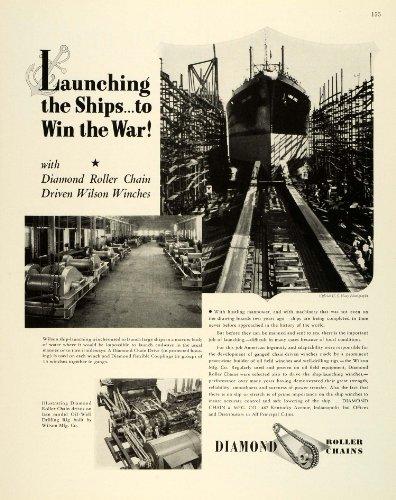 1943 Ad Diamond Chain & Mfg. Indianapolis Drive Flexible Coupling Ship WWII - Original Print Ad