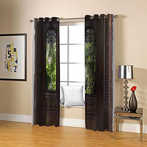 Gzclian Thermogordijnen, ondoorzichtig, met ogen, voor de deur, isolerend gordijn, 2 stuks voor kinderkamer, woonkamer, slaapkamer