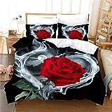 WMZ-SC Bettwäsche, dreiteilig, 3D rote Rose,Bedruckte Bettwäsche Tröster Set Romantische Blume Bettbezug für ?rot?superfeine Faser?Inklusive Kissenbezug 80x80cm / 50x75cm (A-7,135x200cm+80x80cmx1)