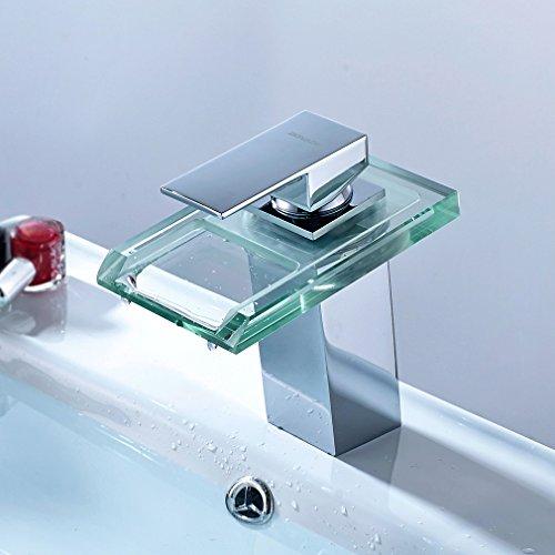 Auralum® Armatur LED RGB Glass Wasserhahn Waschtischarmatur für Bad/Badezimmer/Küchen - 2