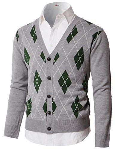 H2H Mens Slim Fit Soft Argyle Sweater