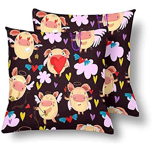 Pamela Hill Valentinstag Cupids Herzen Pfeile Throw Pillow Covers 18 x 18 Set von 2, Kissen Kissenbezüge Kissenbezug für Home Couch Sofa Bettwäsche