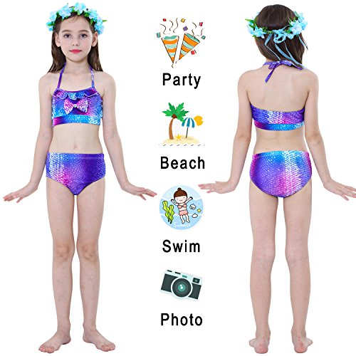 Garlagy 3 Pcs Girls Swimsuit Mermaid Tails for Swimming Princess Bikini Bathing Suit Set Can Add Monofin for 3-12Y (Height 55-60in(10-12Y), A-a Fuchsia Starry)