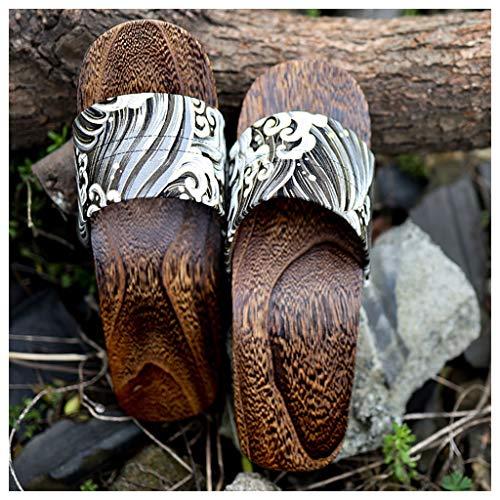 OFFA Pantuflas Pantuflas Zapatillas para Mujeres De Punta Abierta, Sandalias Tradicionales Japonesas Zapatos De Madera Zapatos De Tacón Alto Zapatos Planos De Algodón, Zapatillas De Damas