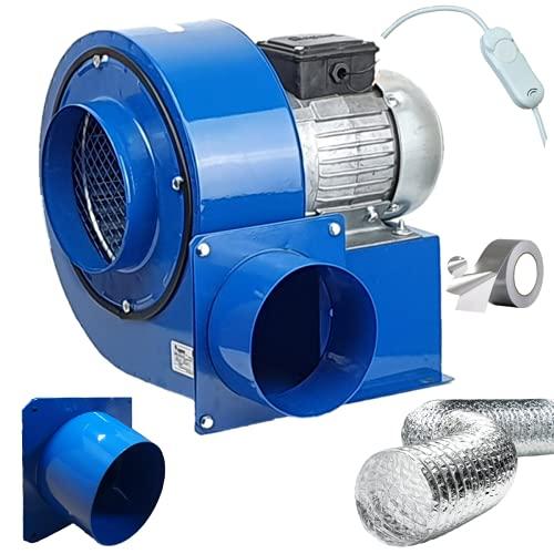 Radialgebläse OBRA-200 mit Drehzahlregler, Flansch, Aluflexrohr und Aluminiumband Radialventilator Zentrifugalventilator Radiallüfter Ventilator Gebläse Lüfter Radialventilator