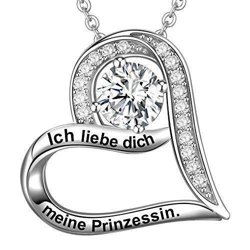 LOVORDS Damen Halskette Gravur 925 Sterling Silber Herz Kette Anhänger Liebesgeschenke für Frauen Freundin Tochter