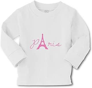 Paris Eiffel Tower Pink Long Sleeve Crewneck Boys-Girls Cotton T-Shirt Tee