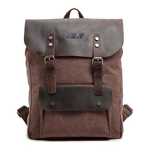 DRF Zaino Casual porta laptop/pc tablet in Tela e Pelle Vintage Altezza 45cm SKU:BG-40 (Marrone)