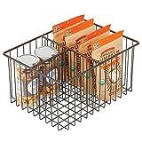 mDesign Caja multiusos de metal – Práctica cesta de almacenaje con 3 compartimentos para cocina, despensa y demás – Caja organizadora compacta y universal – color bronce