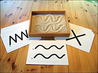 Montessori Wood Therapy Sand Writing Tray with Laminated Tracing Cards & Lots of Colored Sand