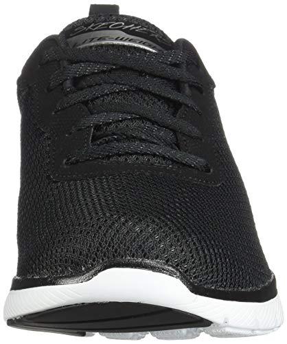 Skechers Flex Appeal 3.0-First Insight, Zapatillas Mujer, Negro (BKW Black Mesh/Trim), 38 EU
