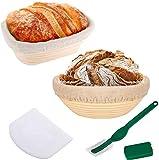 9 pulgadas Ronda de 10 pulgadas oval de corrección de masa fermentada Cesta for Banneton pasta de pan de corrección de cesta de mimbre cuenco con la masa del raspador for el hogar y profesionales pana