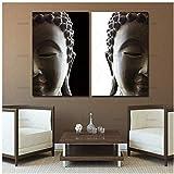 JNZART Cuadro de Pared Arte Lienzo Pintura decoración para el hogar 2 penel Buda Lienzo de Arte Imagen-50x70cm Sin Marco