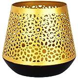 Orientalische goldene Laterne Windlicht Ceuta 12cm groß | Marokkanische Gold Gartenlaterne für draußen Innen als Tischlaterne | Marokkanisches Gartenwindlicht hängend oder zum hinstellen