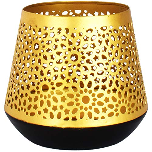 Farol portavelas Oriental de Metal - Candelabro para el jardín - Decorativo para la Mesa - Ceuta Oro - transmite Buen Ambiente - Pasa un Buen rato en el jardín