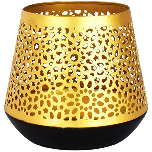 Ceuta Oosterse gouden lantaarn lantaarn, 12 cm groot, Marokkaanse gouden tuinlantaarn voor buiten en binnen als tafellantaarn | Marokkaanse tuinwindlicht hangend of om neer te zetten