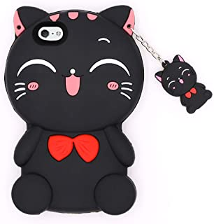 for iPhone 5 Cat Case, iPhone 5S Cute Case, iPhone SE Animal Case, iPhone 5C Cartoon Case, BEFOSSON Cute 3D Cartoon Lucky Cat Kitty Soft Silicone Cover Case for iPhone 5 / 5S / 5C / SE (Black Cat)