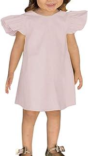 ea97d5bfa20 MORETIME de Pâques Robe de Fille Nouveau Style d été Robe Confortable de  Couleur Unie
