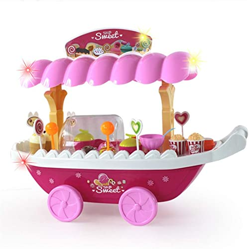 echa un vistazo a los más baratos Aihifly Ice Cream Candy Cart Postre y Cash Cash Cash Trolley Set Juguete con música e iluminación para Niños y niñas Ice Cream Cart Pretend Play Food Postre and Candy Trolly Role Role Play Toys  descuento de ventas en línea
