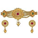 Aheli Collar con cadena de cuentas floral con pendientes indio tradicional Bollywood conjunto de joyas para mujeres y niñas