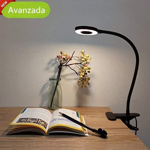 Lámpara de Mesa LED, Lypumso Luz Escritorio con Pinza de Protección Ocular, 2 Modos Ajustables, Blanco Frío/Cálido, 360 °Cuello Flexible, Ahorro de Energía, Negra.