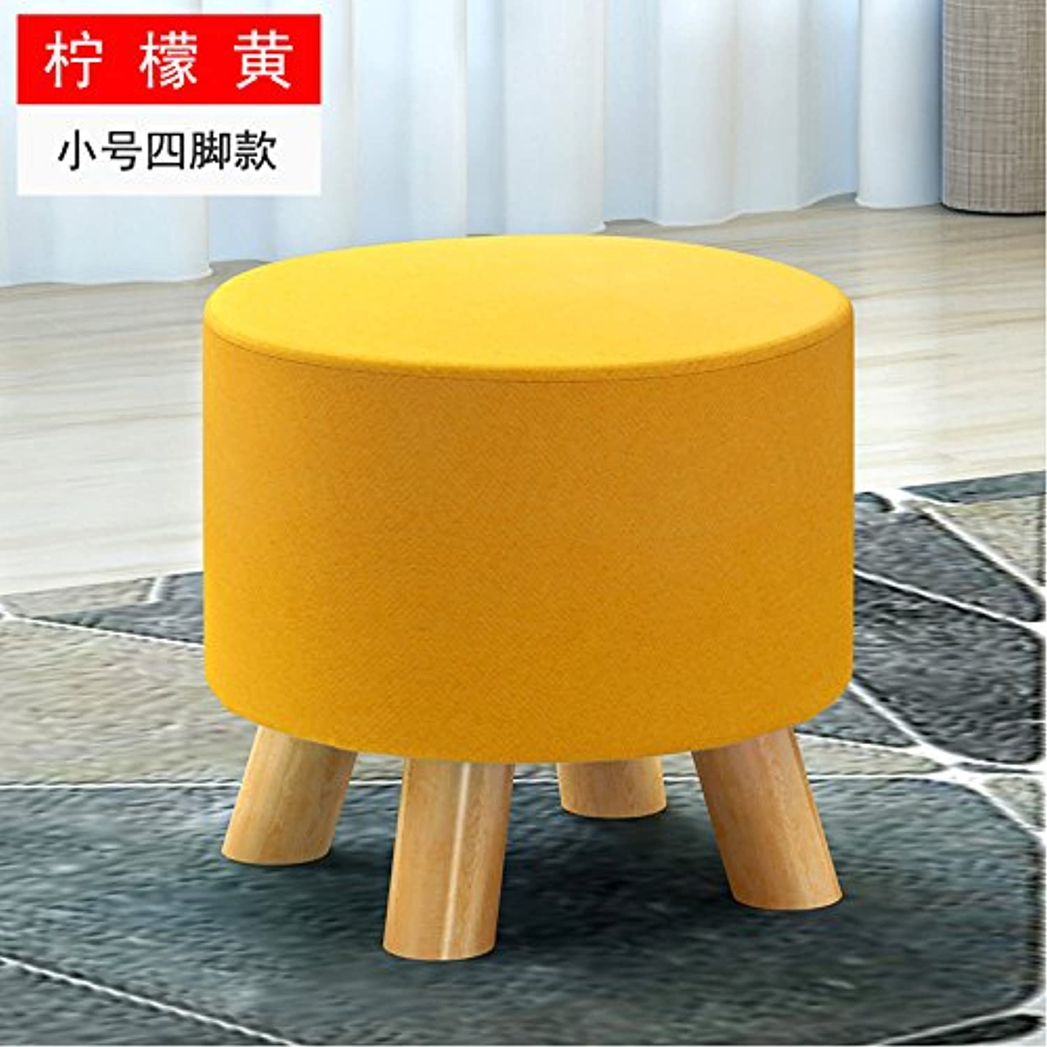 Dana Carrie The shoes is a Stylish Round stool Creative wear shoes of Cloth Sofas stools Benches stool shoes stool Solid Wood on a Low stool, Lemon Yellow,29  27CM