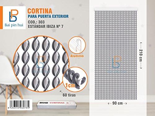 Bai Hui Pin) (Cod. 303) Rideau de porte extérieur, modèle ibiza, 60 Bandes, couleur : gris, matériaux : plastique et aluminium, dimensions : 90 x 210 cm