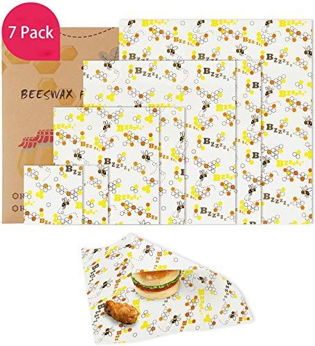 Mitening Bienenwachstücher für Lebensmittel, 7er Set Bienenwachstuch Wiederverwendbare DIY Und Beeswax Wrap Wachstücher Wachspapier Mit Bienenwachs Biologisch Abbaubare für Obst Gemüse