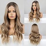 Peluca delantera de encaje de Haircube, Peluca rubia de Ombre con L largas pelucas sintéticas onduladas largas para mujeres 130% Pelucas de densidad Resistente al calor