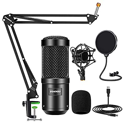 Aokeo AK-60 Professional Studio Live Stream Broadcasting Recording Condenser USB Microphone With AK-35 Suspension Scissor Arm Stand,Shock Mount,Pop Filter,Foam Cover,for Skype,Gaming,Recording