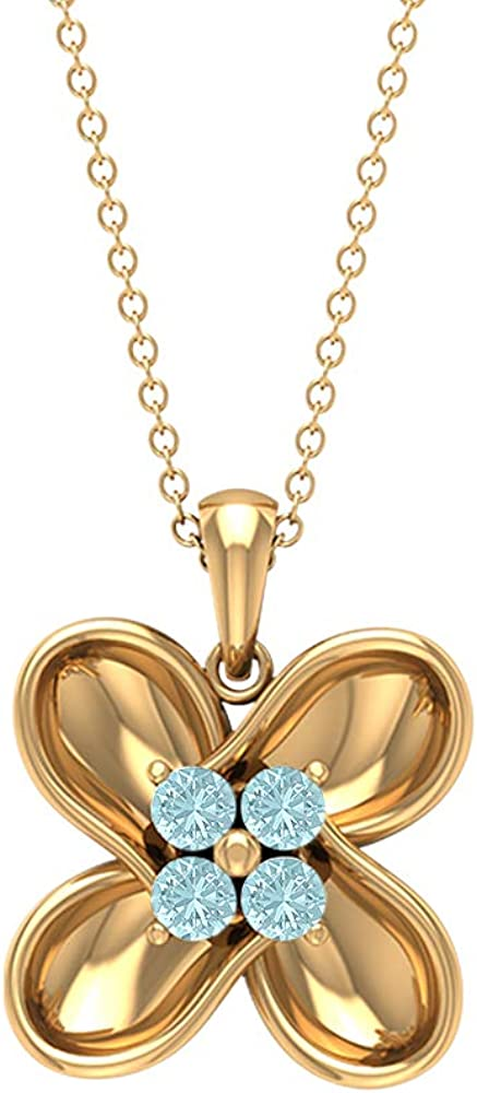 Floral Jewelry, Solid Gold Flower Pendant, 1/3 CT Round Shaped Sky Blue Topaz Necklace, Cluster Pendant, Birthday Gift for Her