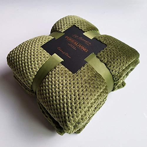 WSKLPM Manta Suave,Color Sólido Piña Plaid Camas Manta Manta De Franela Cálida Manta Sofá Verde Ejército Adulto Arrojar Mantas Colchas Colcha Cama,150X200Cm