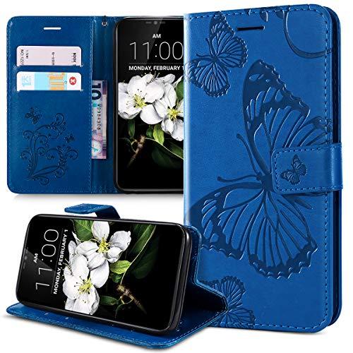 Hoesje voor LG G7 ThinQ Hoes, Embossing 3D Butterfly Lanyard PU Lederen Fold Portemonnee Kickstand Card Slots Magnetische Sluiting Flip Folio Beschermende Telefoonhoesje Cover voor LG G7 ThinQ Portemonneehouder, Blauw