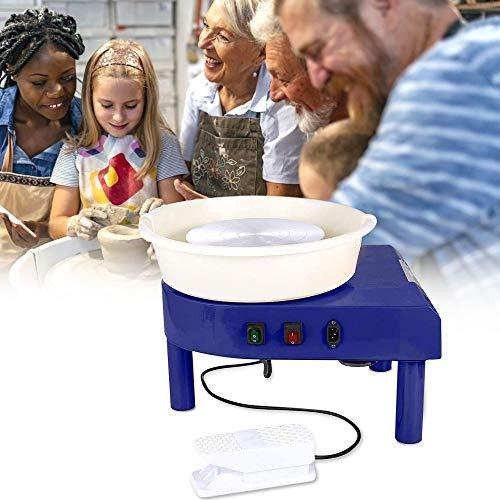 S SMAUTOP Töpferscheibe 25CM Töpferschneidmaschine 350W Elektrische Töpferscheibe mit Fußpedal und abnehmbarem Becken Einfache Reinigung für Keramik Clay Art Craft(CE-Zertifizierung)
