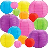"""16pcs Colorful Paper Lanterns, Multi-Color Chinese or Japanese Hanging Paper Lanterns Decoration for Party, Classroom, Wedding, Home Decoration(Size of 4"""", 6"""", 8"""", 10"""")"""