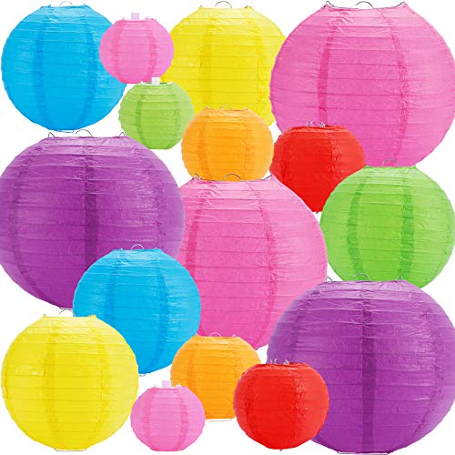 "16pcs Colorful Paper Lanterns, Multi-Color Chinese or Japanese Hanging Paper Lanterns Decoration for Party, Classroom, Wedding, Home Decoration(Size of 4"", 6"", 8"", 10"")"