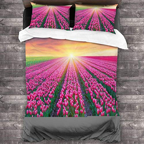 Maja Shop Pink Tulips & Bright Sunrise Unisex 3-Piece Bedding Set 86'X70' with Zipper Closure Super Soft Microfiber Comforter Cover with Pillowcase for Bedroom Guest Room and Hotel