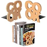 Book Ends Wooden Bookend Decorative Home Kitchen Bookends for Shelves Cook Book Holder with Bottom Non-Slip Pads Beech Vintage Storage Simple Book Stand