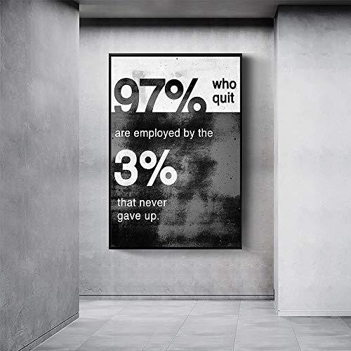 KWzEQ Geben Sie Niemals die Heimdekoration moderner inspirierender Leinwand-Wandbilder in Schwarz-Weiß auf,Rahmenlose Malerei,45x67cm
