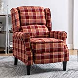 Paddie Recliner Chair, Single Sofa Armchair Retro Mid-Century Checked Wing Back Fabric Upholstered Pushback High Back Accent Chair (Red)