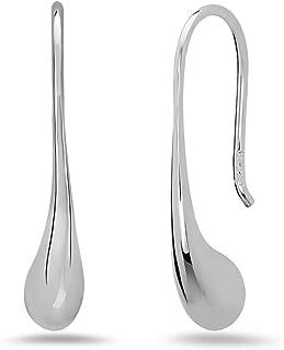 925 Sterling Silver Dangling Teardrop Thread Drop Earrings – Dangle Minimalist Raindrop Jewelry for Women