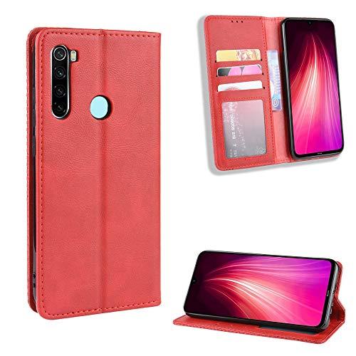 LODROC Xiaomi Redmi Note 8T Hülle, TPU Lederhülle Magnetische Schutzhülle [Kartenfach] [Standfunktion], Stoßfeste Tasche Kompatibel für Xiaomi Redmi Note8T - LOBYU0101195 Rot