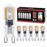 Onumii Bombilla LED G9 Cápsula 3W LED Equivalentes 28W Halógenas, Blanco Cálido 3000K, AC220-240V, Pack De 6