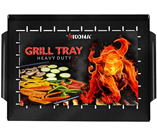 KONA Grill Tray - Heavy Duty BBQ Grilling Pan Will Never Warp & Enameled For Easier Cleaning - BBQ Accessory For Fish, Vegetables, Kabobs - 16x12 x1 inch