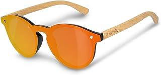 Navaris Occhiali da sole in bambù UV400 - lenti polarizzate colorate in acrilico - Occhiale unisex con custodia in bamboo...
