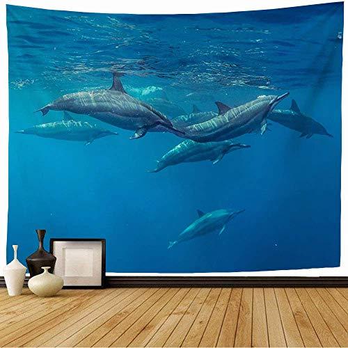 N\A Tapisserie Wandbehang Säugetier Blau Familie Unterwasser Schnorchel Mädchen Delfine Mauritius Wildfisch Indischer Ozean Sommergruppe Tapisserie Dekor Wohnzimmer Schlafzimmer für Zuhause