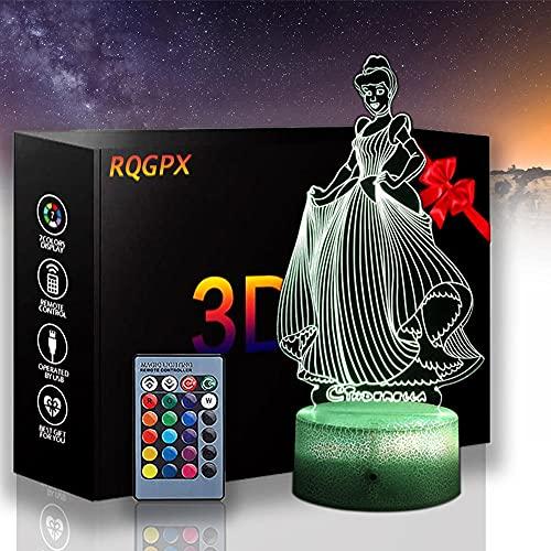 Lámpara de ilusión 3D regalo de Navidad luz de noche Cenicienta 16 colores cambio automático interruptor táctil lámparas decoración de escritorio regalo cumpleaños con control remoto
