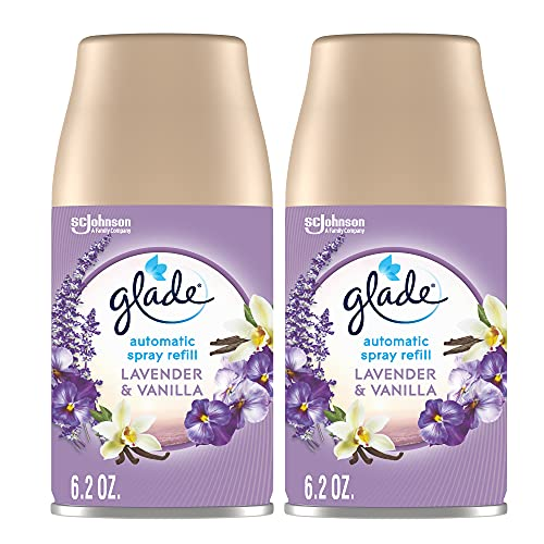 Glade Automatic Spray Refill, Air Freshener for Home and Bathroom, Lavender & Vanilla, 6.2 Oz, 2 Count