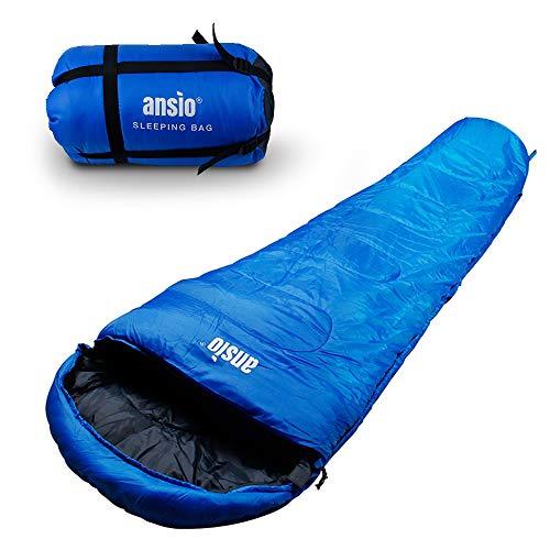 ANSIO Schlafsack, 3-4 Jahreszeiten, Mumienschlafsack Ideal für Camping, Wandern, Outdoor und Festivals - Blau